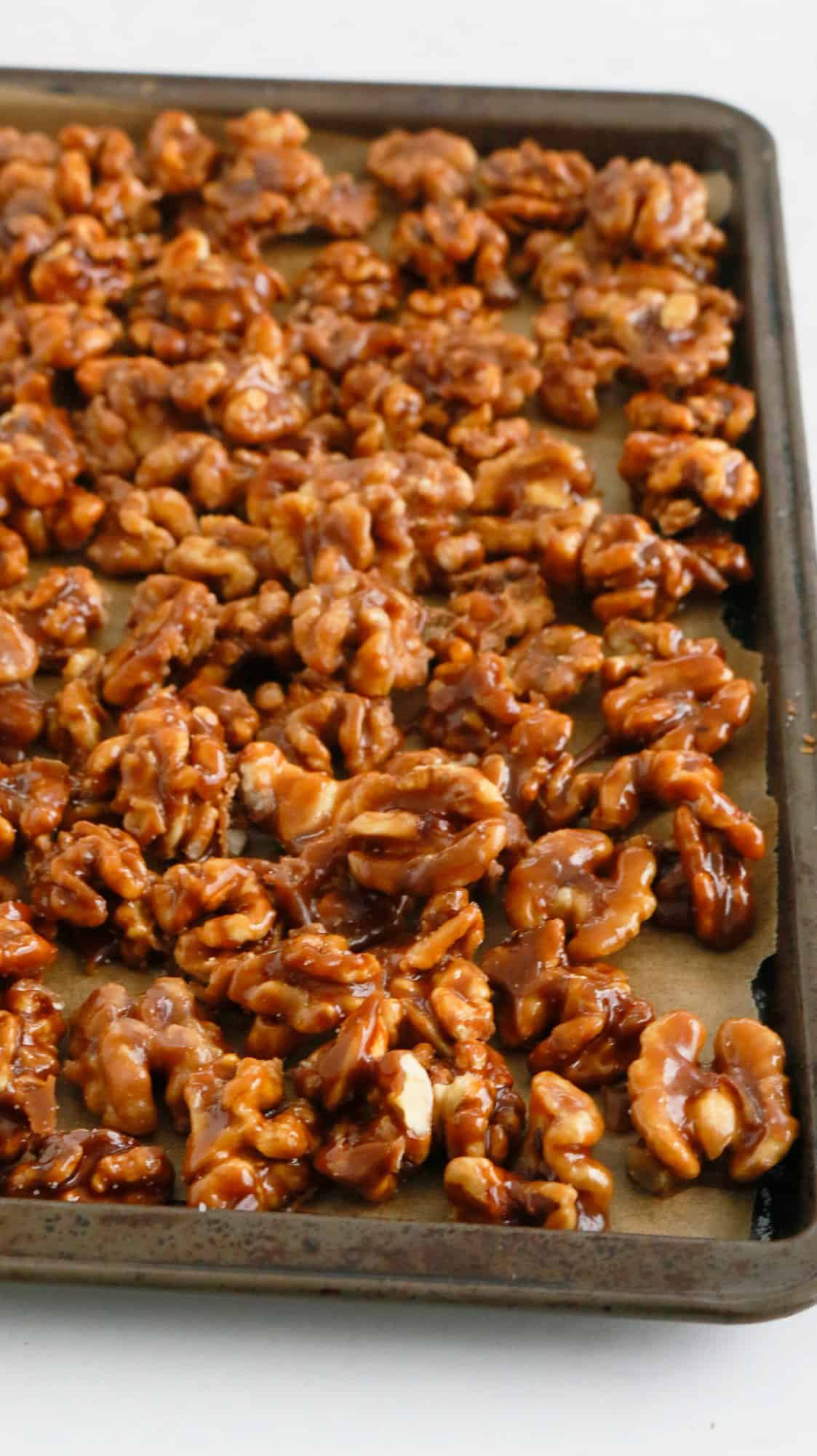 sheet tray with candied walnuts