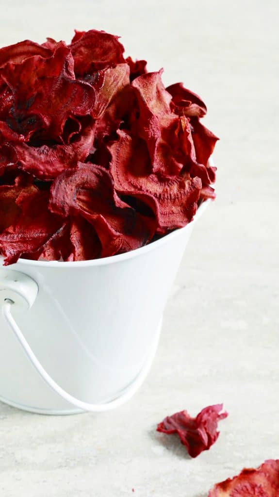 crispy and crunchy homemade beet chips baked in the oven