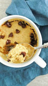 soft, fluffy chocolate chip cookie made easily in the microwave