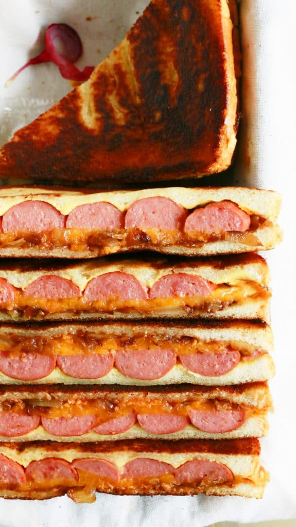 grilled cheese sandwiches with hot dogs, caramelized onions and barbecue sauce