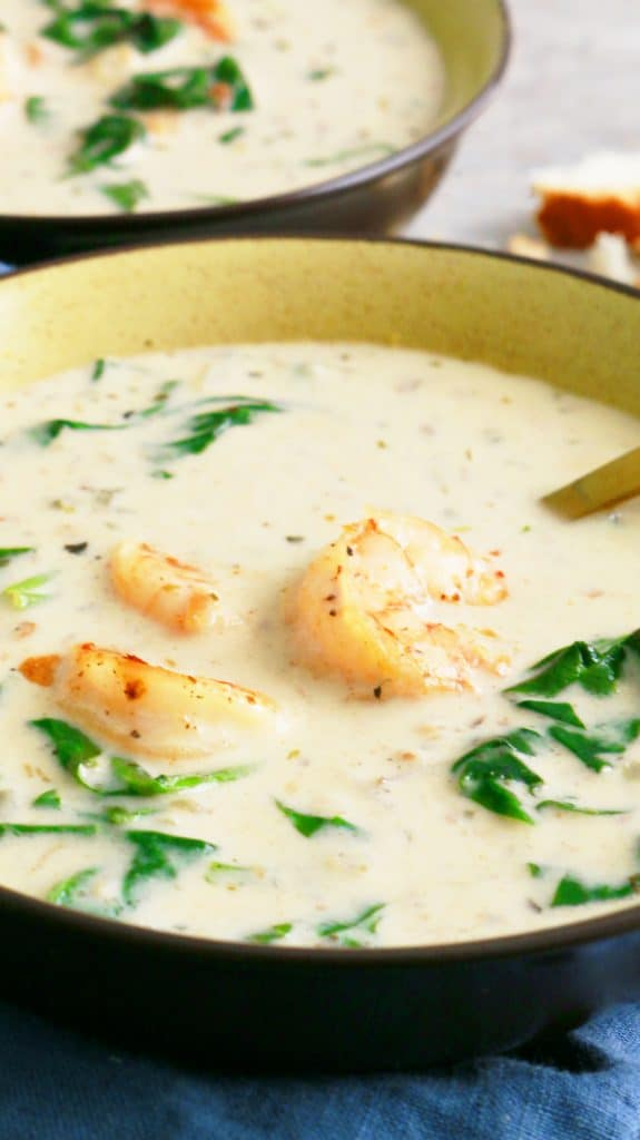 comforting bowl of Tuscan shrimp and spinach soup