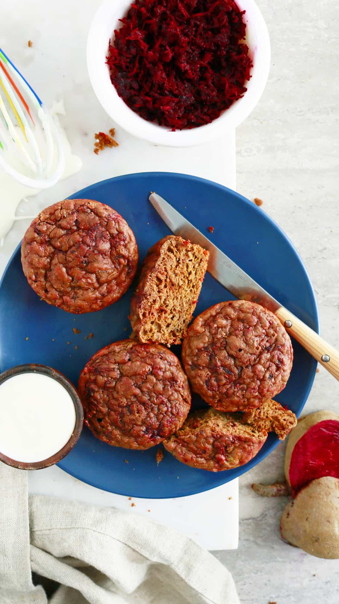 baked red velvet pancake