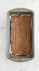 baked nutella brownies in a loaf pan