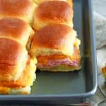 easy, baked ham egg and cheese Hawaiian rolls breakfast sliders