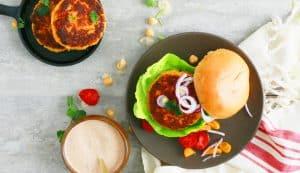 spicy garbanzo bean burger