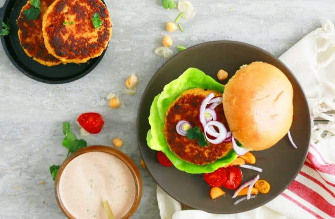 spicy garbanzo bean burger