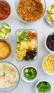 chicken burrito bowl meal prep