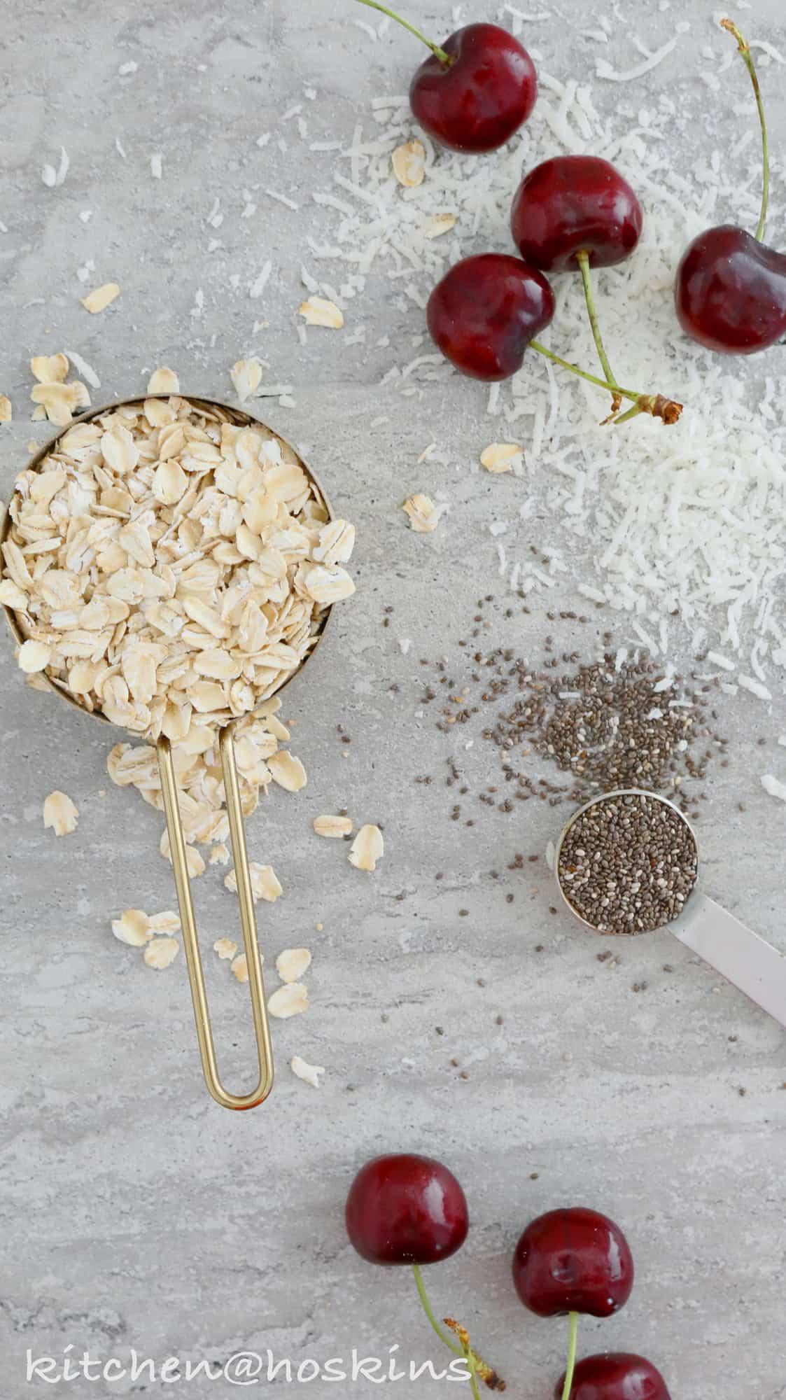 coconut cherry chia overnight oats