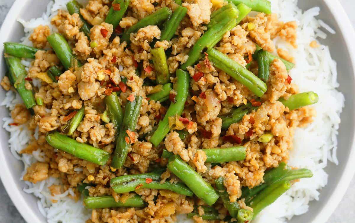 Ground Chicken and Green Beans Stir Fry