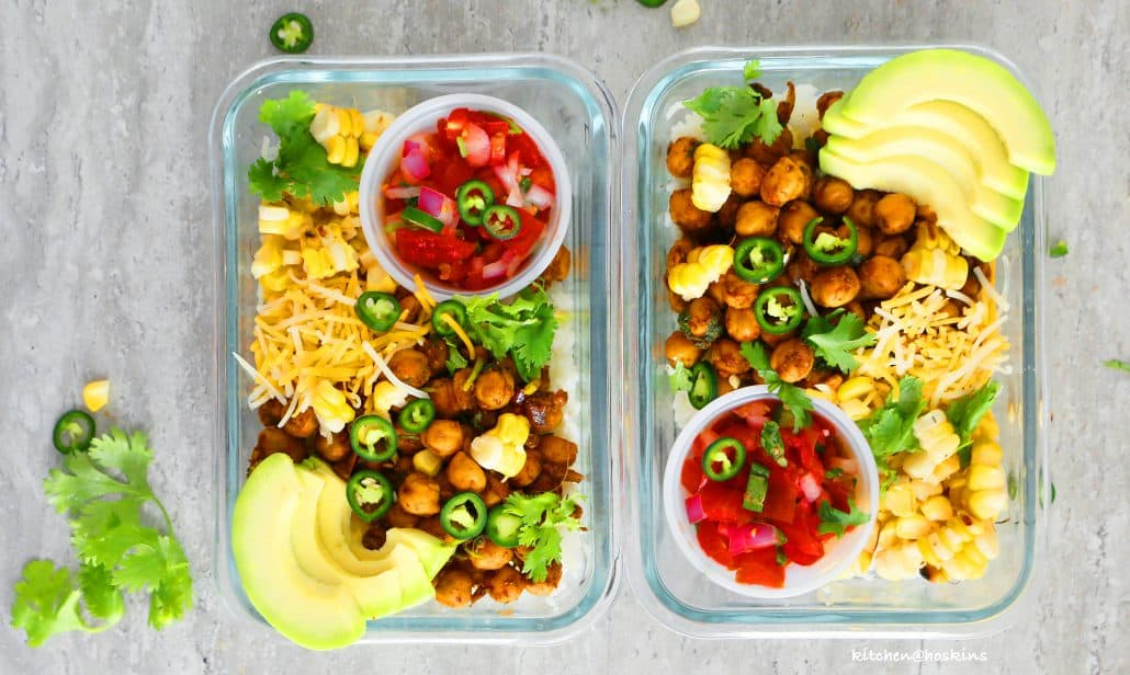 chickpea taco meal prep bowls