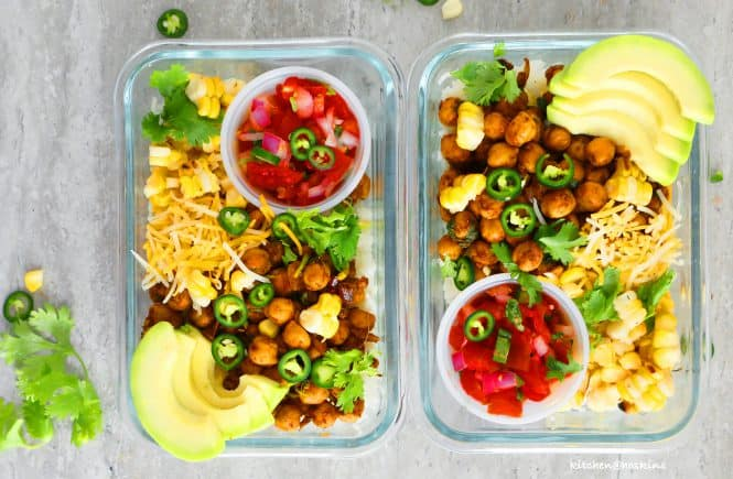 chickpea burrito bowl meal prep