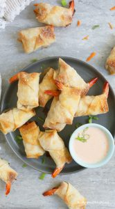 easy baked shrimp rolls with sriracha ranch