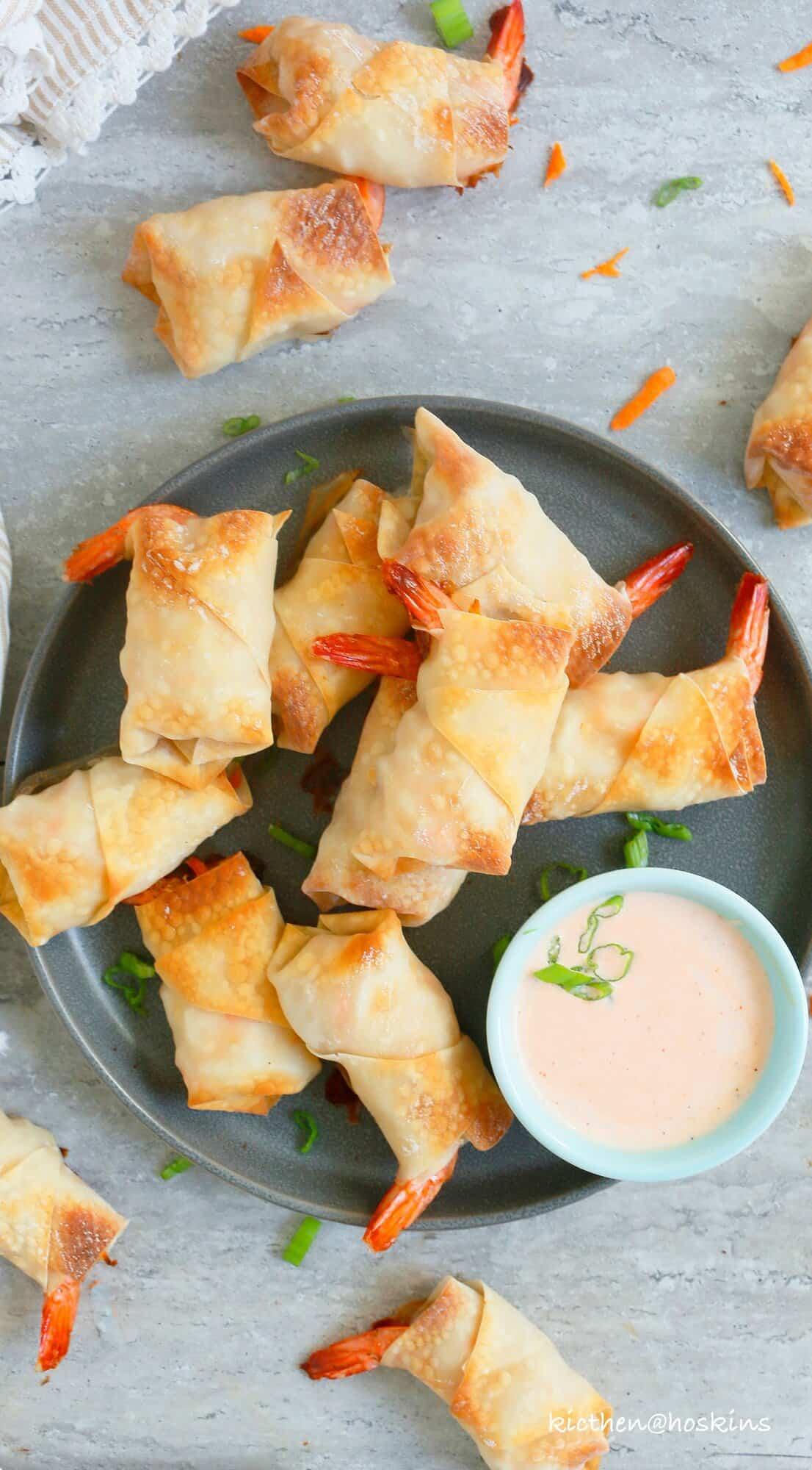 easy baked shrimp rolls with sriracha ranch