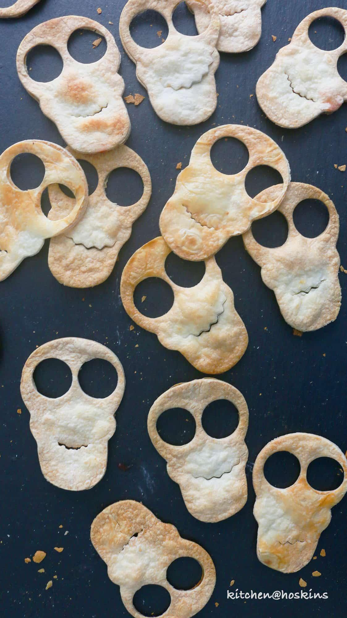 Halloween skull chips and salsa