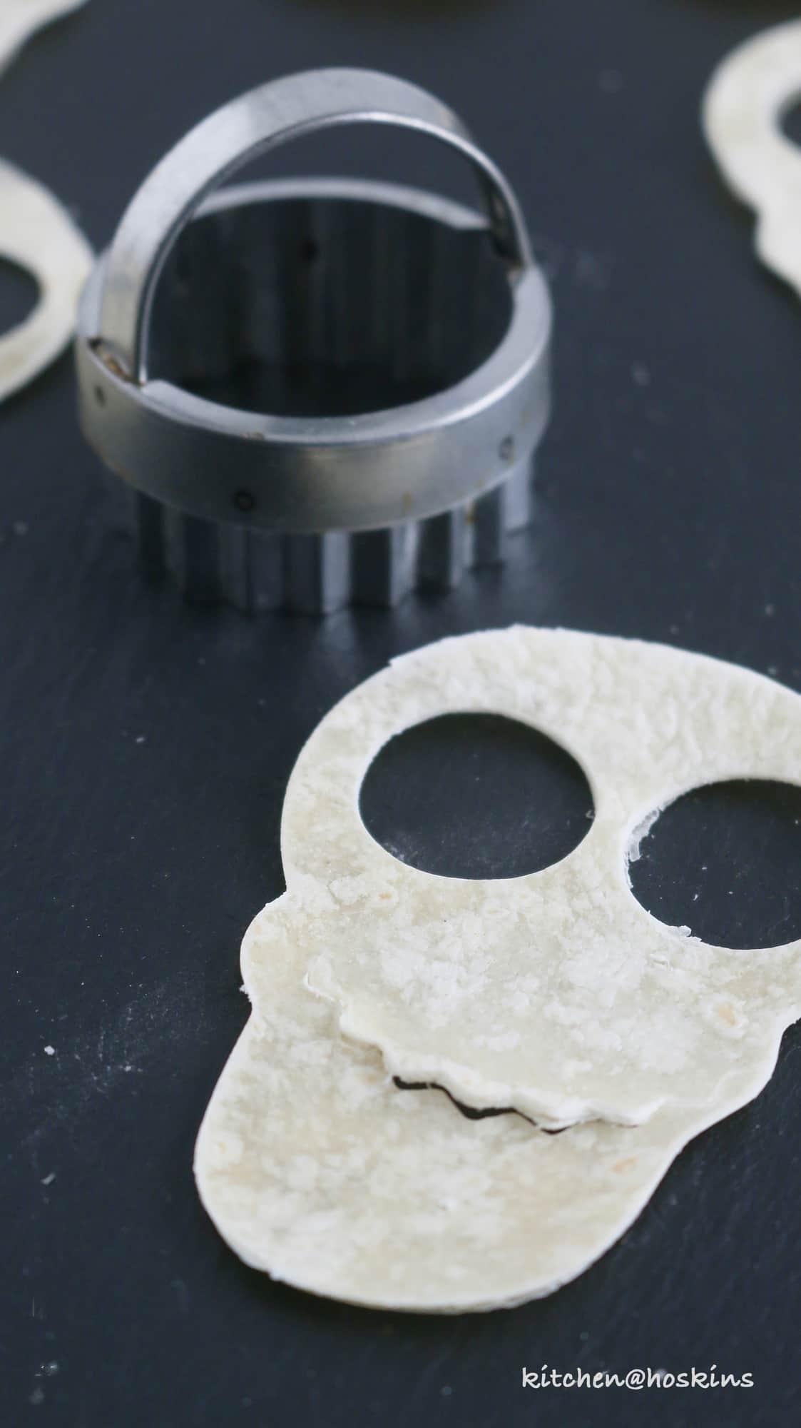 spooky skull tortilla chips
