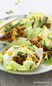 taco chickpea lettuce wraps