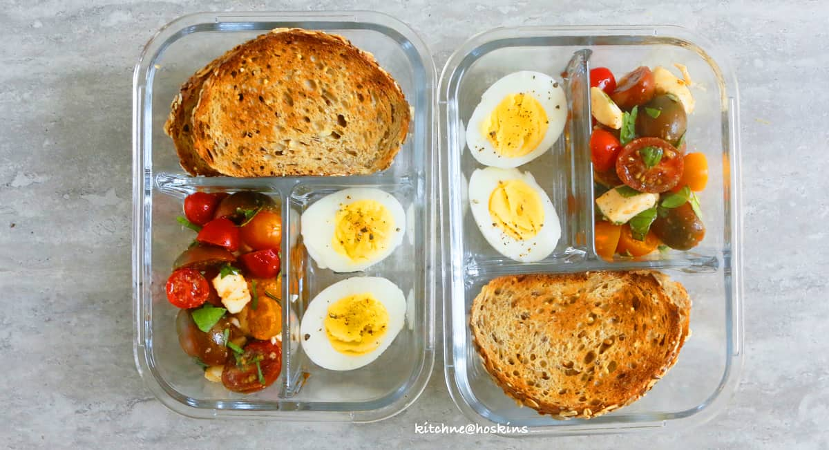 caprese with garlic toast lunch box