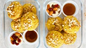 cream cheese stuffed pumpkin spice pancake cups