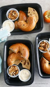 bagels with buttered cream cheese and candied walnuts