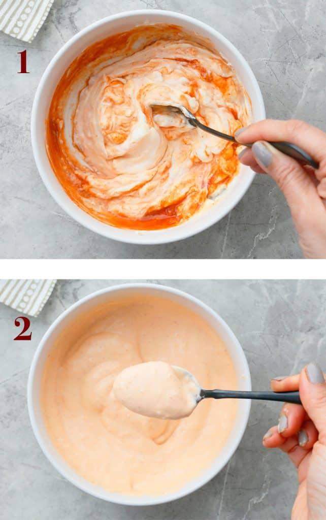 step by step photos on how to make sriracha mayonnaise