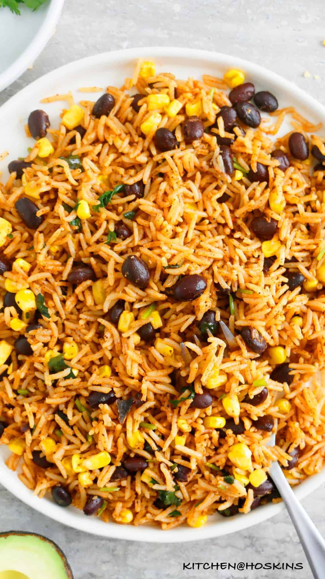 spicy instant pot cilantro lime rice with black beans and corn