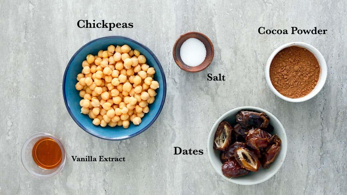 ingredients needed to make dark chocolate hummus