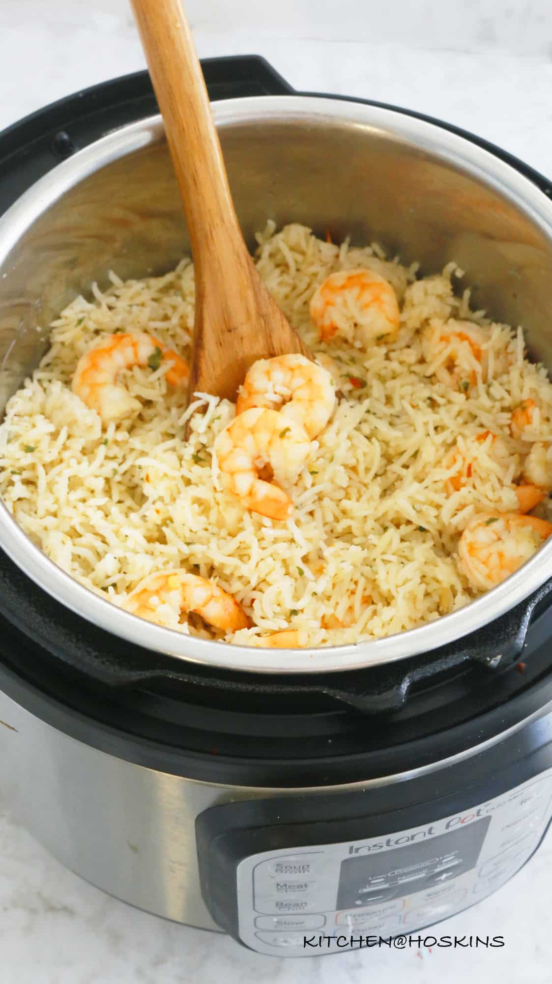 garlic butter shrimp rice in instant pot