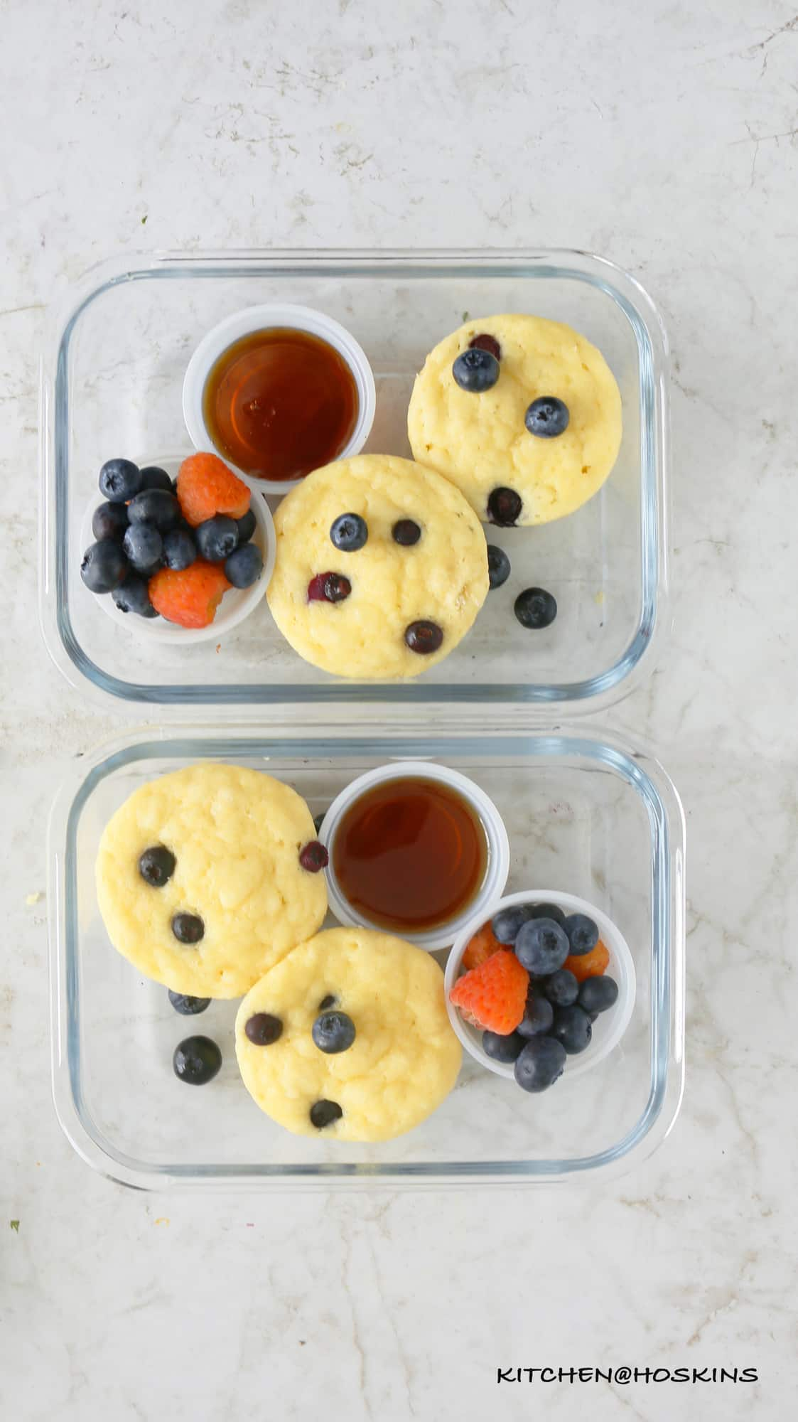 fluffy blueberry pancakes in a muffin pan