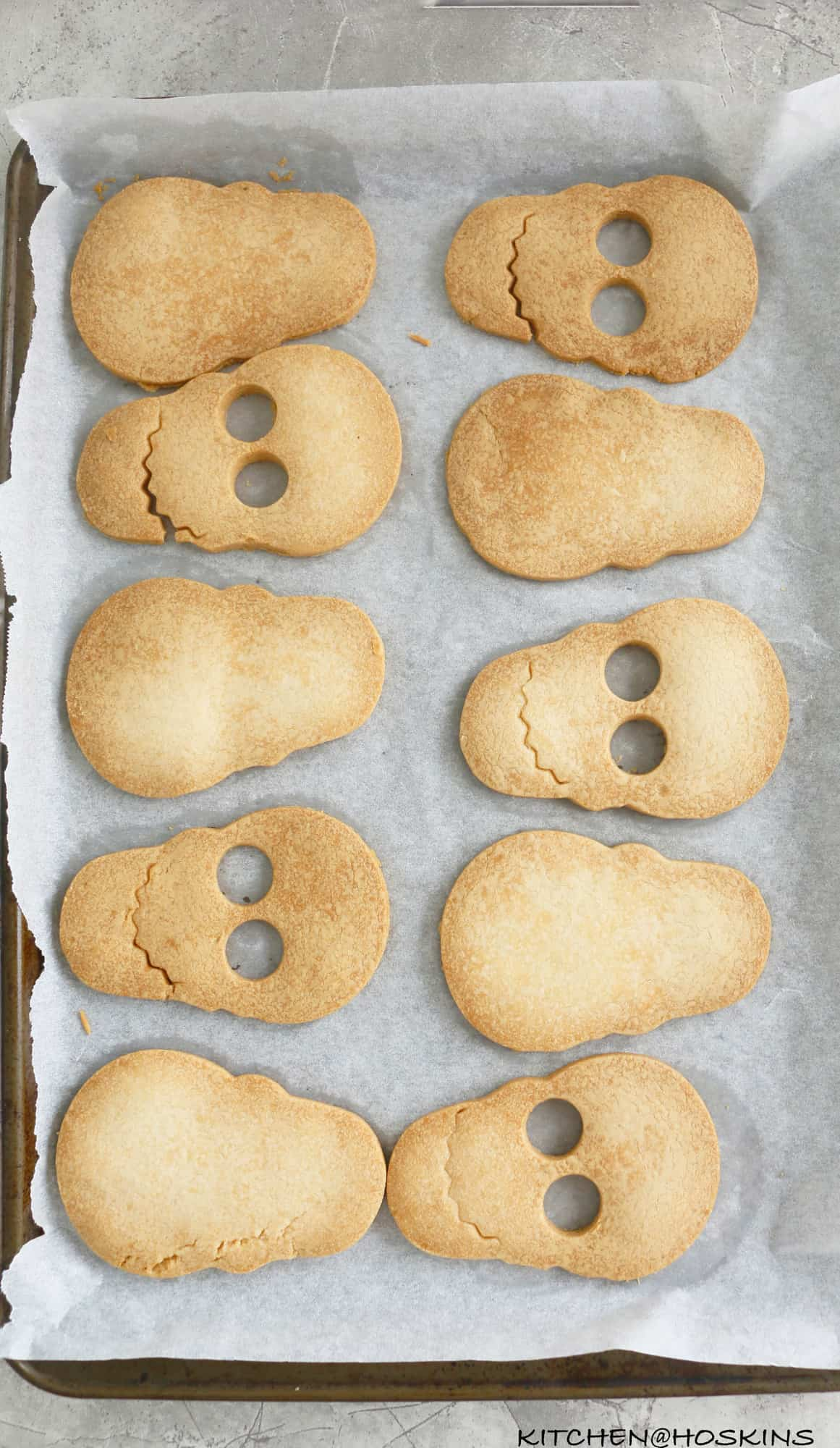 Baked skull cookies cut with a skull cookie cutter