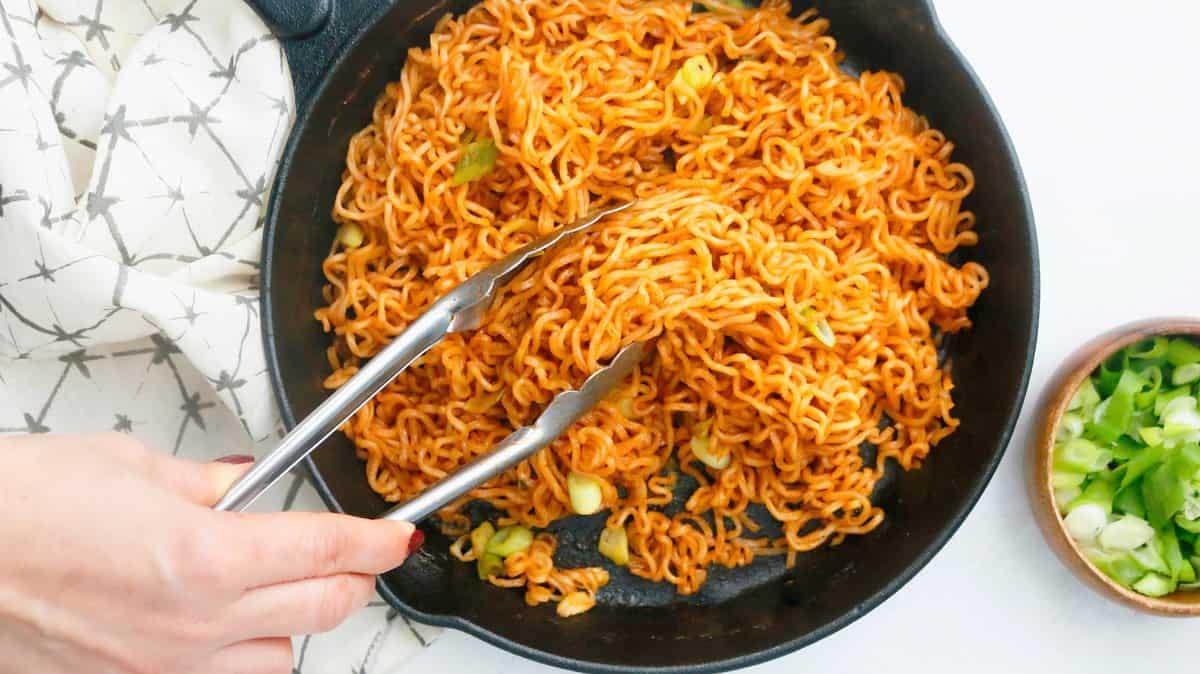 serving bbq ramen noodles