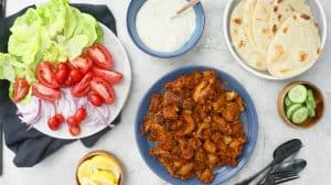 instant pot chicken shawarma wraps