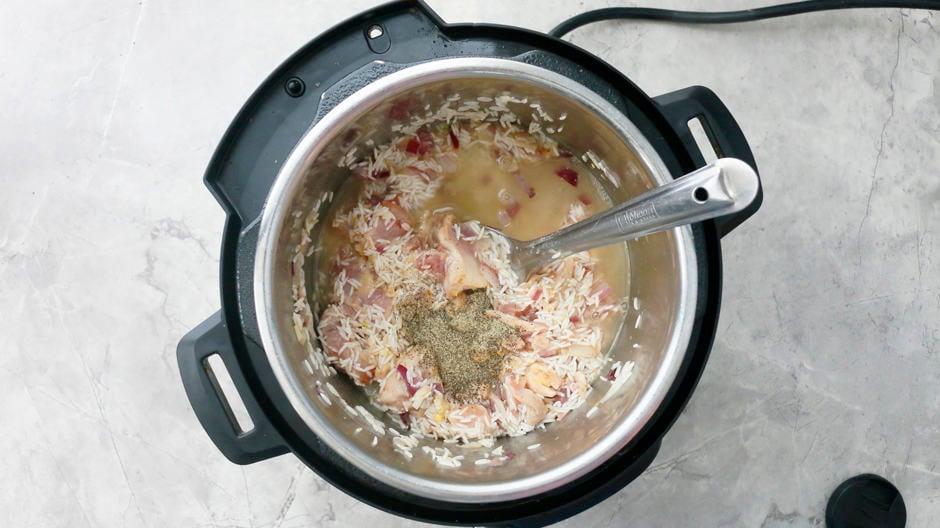 chicken stock, rice, chicken, onion in instant pot