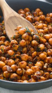 mexican chickpeas in a skillet