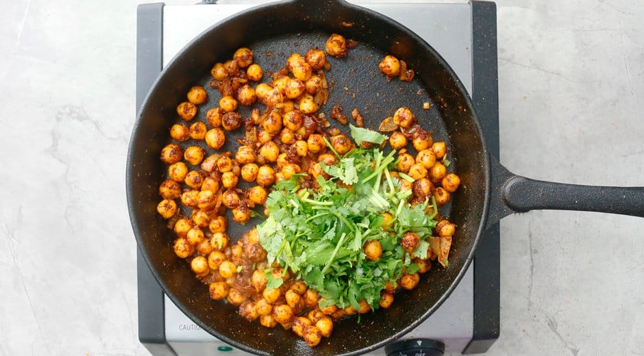 add chopped cilantro to cooked chickpeas