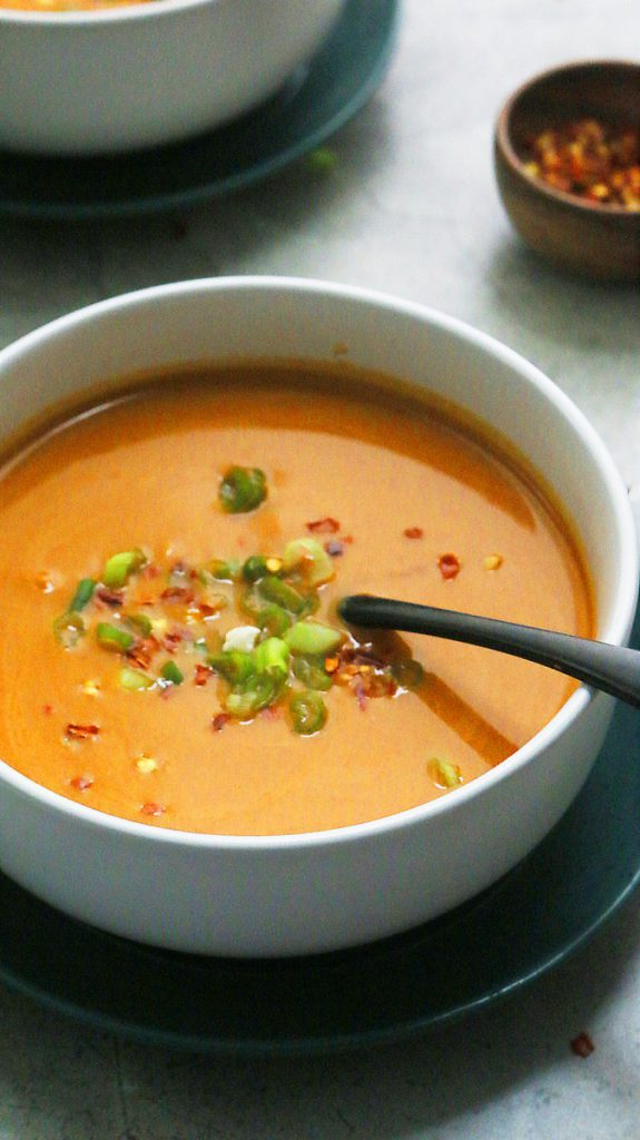 bowl of thai cauliflower soup