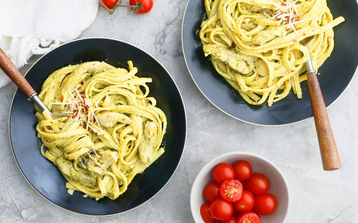 creamy pesto chicken pasta recipe