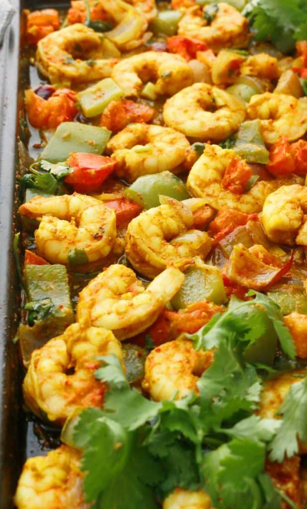 curried sheet pan shrimp dinner