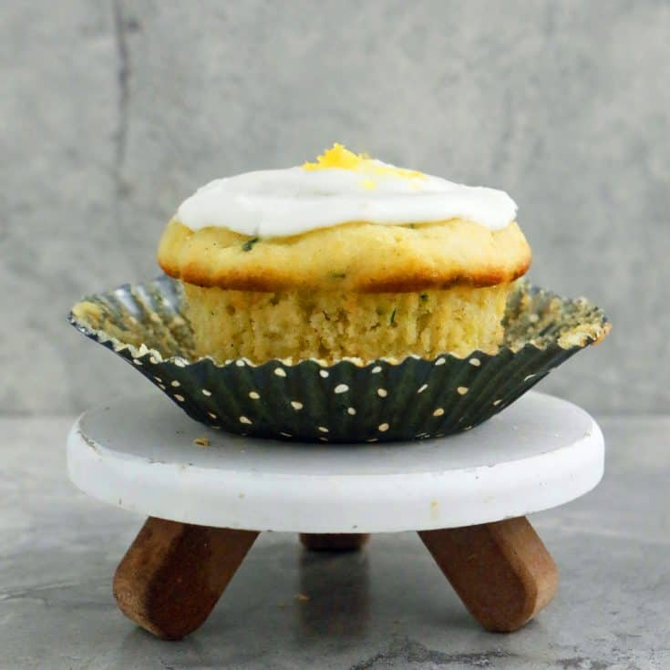 Zucchini Cardamom Cupcakes with Lemon Glaze