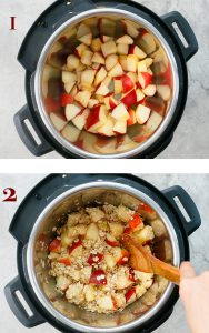 saute chopped apples and rolled oats in instant pot