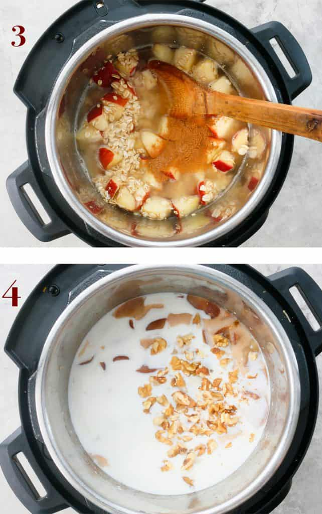 add water, milk, brown sugar and walnuts into the instant pot