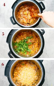step by step photos on making instant pot Mexican casserole