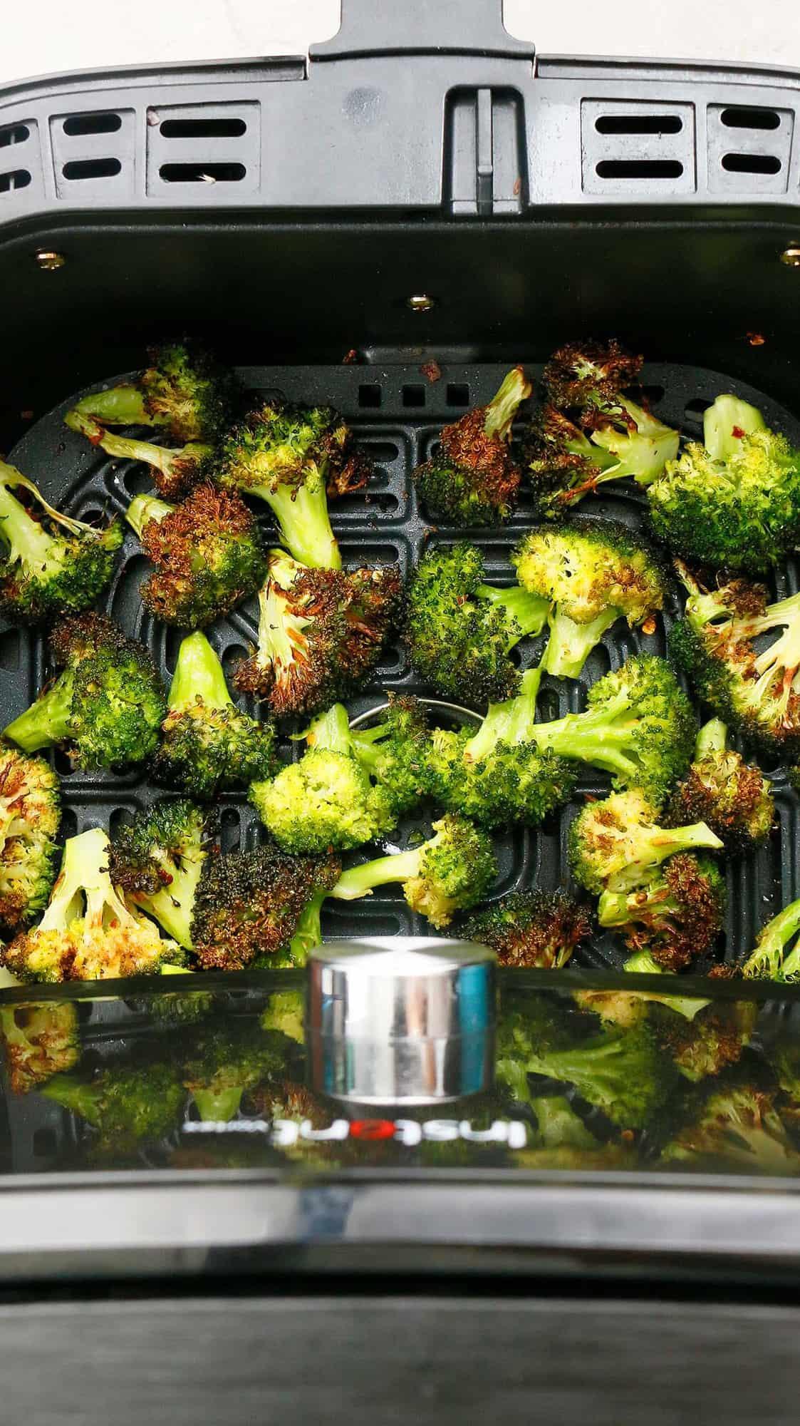 roasted crispy broccoli in an air fryer