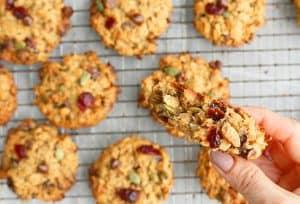 an inside view of breakfast cookie healthy held by 2 fingers