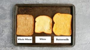 a baking sheet with different types of french toasts