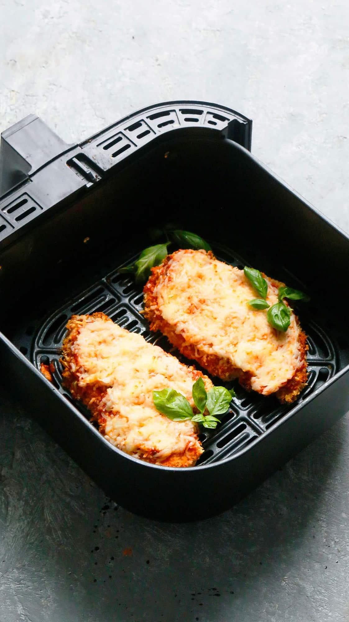 air fryer basket with chicken parm