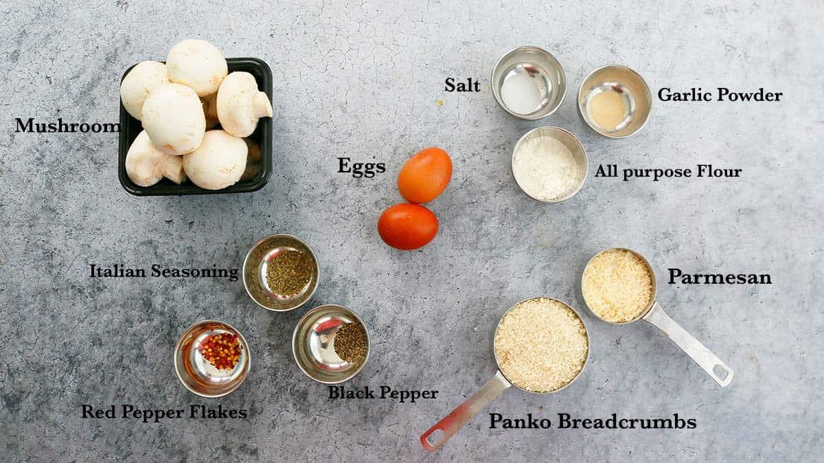 ingredients needed for making air fryer mushrooms