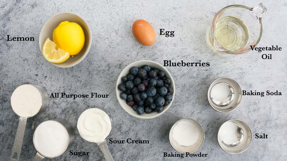 ingredients for sour cream lemon blueberry muffins