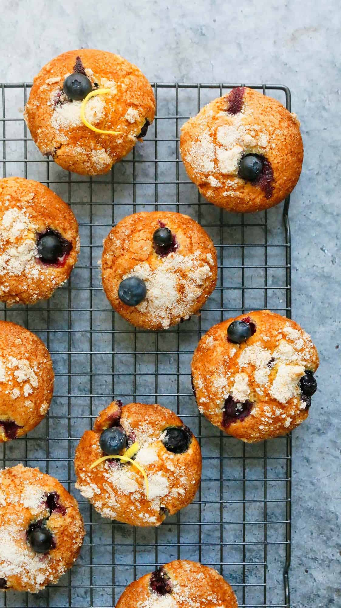 blueberry muffins placed on a wire rack