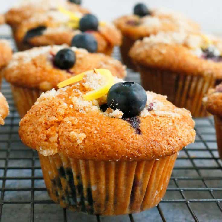 Lemon Blueberry Muffins with Sour Cream
