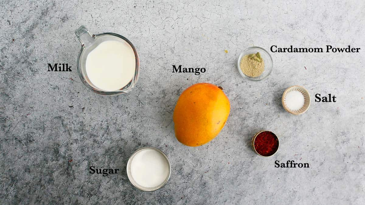 ingredients needed for making milk with mango